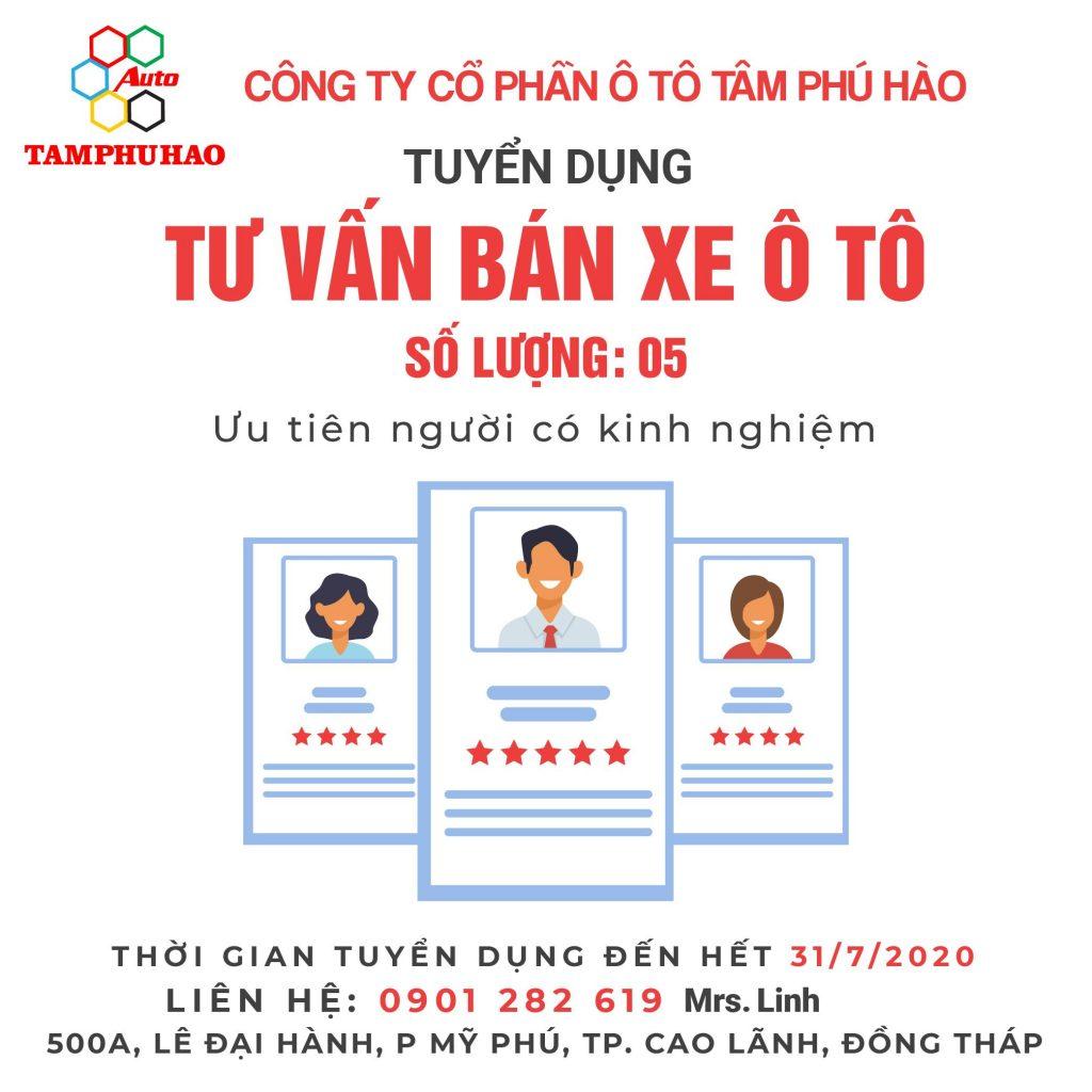 Công ty cổ phần ô tô Tâm Phú Hào tuyển dụng 5 nhân viên kinh doanh ô tô